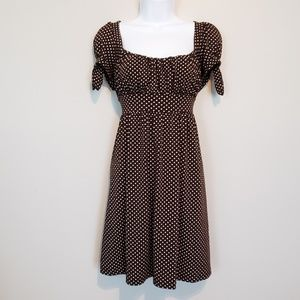 Brown White Polka Dot A Line Dress by HeartSoul